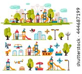 children playground. swings ... | Shutterstock .eps vector #444687199