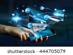 tech devices and icons... | Shutterstock . vector #444705079