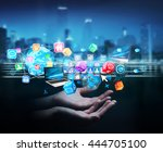 businesswoman connecting icons...   Shutterstock . vector #444705100