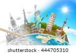 famous landmarks of the world... | Shutterstock . vector #444705310