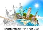 famous landmarks of the world... | Shutterstock . vector #444705310