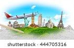 famous landmarks of the world... | Shutterstock . vector #444705316