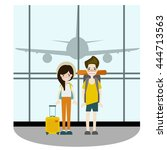 couple traveler take a photo at ... | Shutterstock .eps vector #444713563