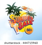 summer sale banner. vector... | Shutterstock .eps vector #444715960