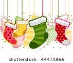 christmas stockings on strings  ... | Shutterstock .eps vector #44471866