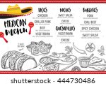 mexican menu placemat food... | Shutterstock .eps vector #444730486