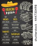 mexican menu placemat food... | Shutterstock .eps vector #444730498