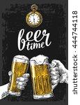 two hands holding beer glasses... | Shutterstock .eps vector #444744118