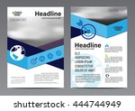 blue striped brochure annual... | Shutterstock .eps vector #444744949