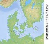 relief map of danmark   3d... | Shutterstock . vector #444745540