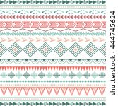 colorful ethnic patterns.... | Shutterstock .eps vector #444745624