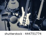 selective focus microphone and... | Shutterstock . vector #444751774
