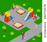isometric city park with... | Shutterstock .eps vector #444753478