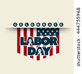american flag with typography... | Shutterstock .eps vector #444755968