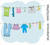Stock vector clothes on clothes line vector illustration 444763966