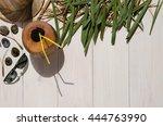 tropical palm leaf  havana hat  ... | Shutterstock . vector #444763990