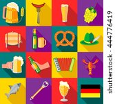 octoberfest icons set in flat... | Shutterstock .eps vector #444776419