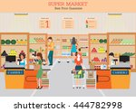 people in supermarket grocery... | Shutterstock .eps vector #444782998