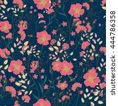 vector vintage seamless floral... | Shutterstock .eps vector #444786358
