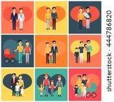 set of happy family homosexual... | Shutterstock .eps vector #444786820