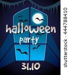 halloween party poster. vector... | Shutterstock .eps vector #444788410