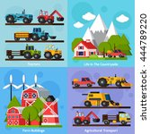 farm orthogonal flat 2x2 icons... | Shutterstock .eps vector #444789220