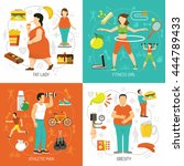 obesity and health concept with ... | Shutterstock .eps vector #444789433