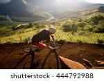 mountain biker going downhill... | Shutterstock . vector #444792988