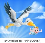 cartoon stork bird animal... | Shutterstock .eps vector #444800464