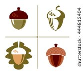 a set of signs and symbols acorn | Shutterstock .eps vector #444812404