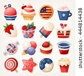 summer fruit and desserts... | Shutterstock .eps vector #444814438