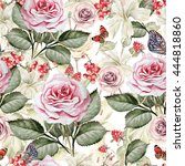 watercolor pattern with roses... | Shutterstock . vector #444818860
