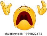 emoticon looking up  raising... | Shutterstock .eps vector #444822673