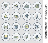 travel icons. contour lines... | Shutterstock .eps vector #444829234