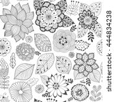 vector flower pattern. colorful ... | Shutterstock .eps vector #444834238