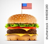 realistic hamburger with cheese ...   Shutterstock .eps vector #444838180