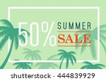 vector summer sale banner. palm ...   Shutterstock .eps vector #444839929