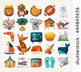 set of australian travel icons. ... | Shutterstock .eps vector #444845656