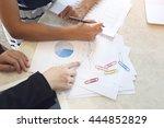 two businesswoman working in... | Shutterstock . vector #444852829