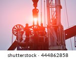 the oil workers in the job   Shutterstock . vector #444862858
