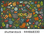 colorful vector hand drawn... | Shutterstock .eps vector #444868330