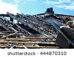 burned roof of a house | Shutterstock . vector #444870310