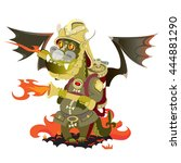 dragon in a fire that puts out... | Shutterstock .eps vector #444881290