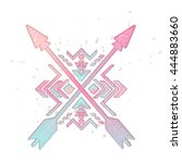 crossed arrows with mexican and ... | Shutterstock .eps vector #444883660