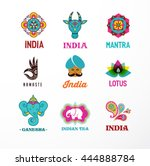 india   set of indian icons.... | Shutterstock .eps vector #444888784