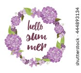 summer wreath with purple... | Shutterstock .eps vector #444893134