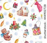 hand paint watercolor seamless... | Shutterstock . vector #444902728