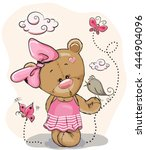 cute cartoon teddy bear girl... | Shutterstock .eps vector #444904096