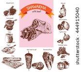 vector illustration of shawarma ... | Shutterstock .eps vector #444915040