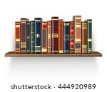 Colorful Books On The Wood Shelf